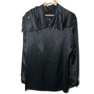 VTG NEIMAN Marcus Black silky blouse  buttons L